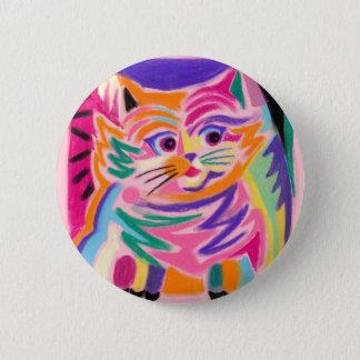 Neugieriger Cheshire-Katzen-80er Retro Runder Button 5,1 Cm