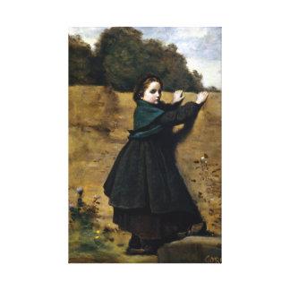 Neugieriges kleines Mädchen Jean-Baptistes Camille Leinwanddruck