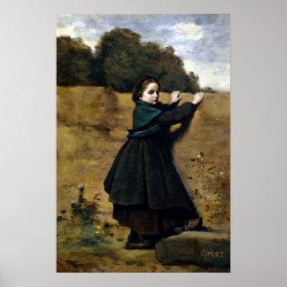 Neugieriges kleines Mädchen Jean-Baptistes Camille Poster