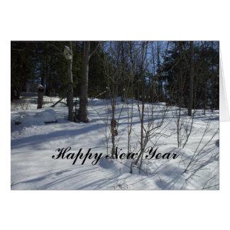 Neujahrs-Morgen-Schnee-Szene Grußkarte