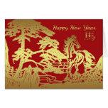 Neujahrsfest-Gruß-Karten-Jahr des Pferds