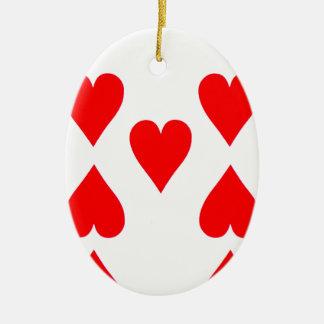 Neun der Herz-Spielkarte Keramik Ornament