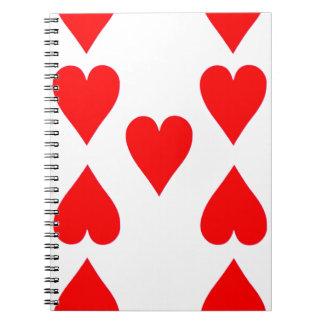 Neun der Herz-Spielkarte Notizblock
