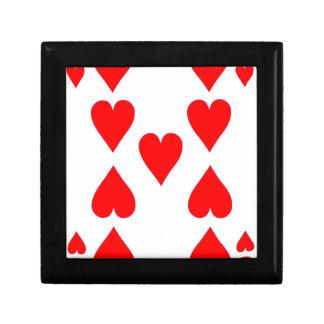 Neun der Herz-Spielkarte Schmuckschachtel
