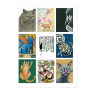 Neun Katzen-mehrfache Künstler-Illustration Postkarte
