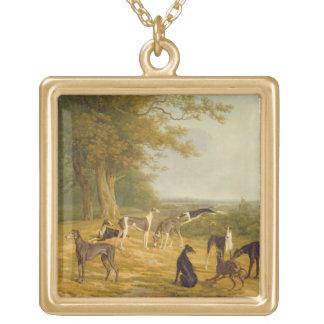 Neun Windhunde in einer Landschaft (Öl auf Leinwan Amuletten