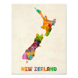 Neuseeland, Aquarell-Karte 10,8 X 14 Cm Einladungskarte