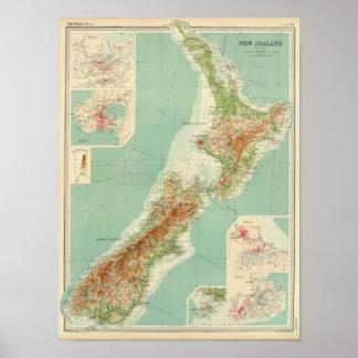 Neuseeland-Atlas-Karte Poster