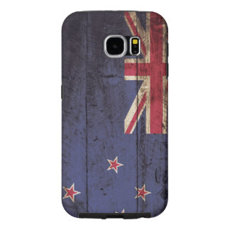 Neuseeland-Flagge auf altem hölzernem Korn