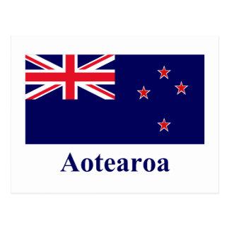 Neuseeland-Flagge mit Namen in Maori- Postkarte