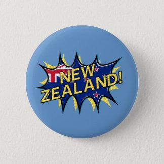 Neuseeland-Flaggen-Comicart kapow Stern Runder Button 5,7 Cm