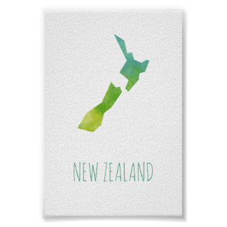 Neuseeland-Karte Poster