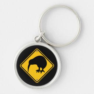 Neuseeland-Kiwi-Überfahrt Silberfarbener Runder Schlüsselanhänger