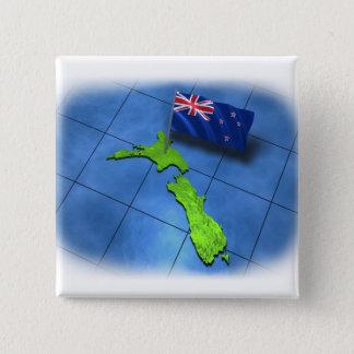 Neuseeland mit seiner eigenen Flagge Quadratischer Button 5,1 Cm