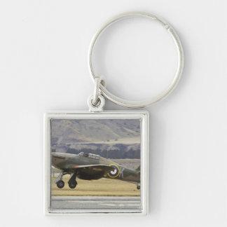 Neuseeland, Otago, Wanaka, Warbirds über 6 Silberfarbener Quadratischer Schlüsselanhänger