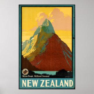 Neuseeland-Reise-Vintages Plakat