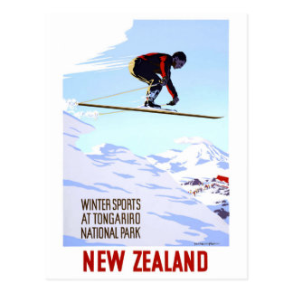 Neuseeland-Winter-Sport-Vintages Reise-Plakat Postkarte