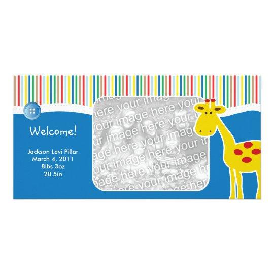 Neutrale Giraffen-Geburts-Mitteilungs-Foto-Karte Individuelle Foto Karte