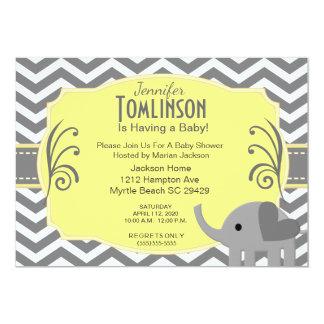 Neutrale graue und gelbe Babyparty-Einladung 12,7 X 17,8 Cm Einladungskarte