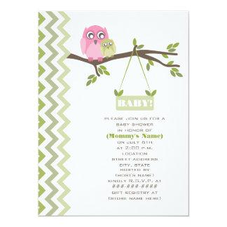 Neutrale grüne Babyparty-Mutter-und Baby-Eulen 14 X 19,5 Cm Einladungskarte