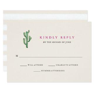 Neutrale Kaktus-Hochzeits-Antwort der Wüsten-  Karte