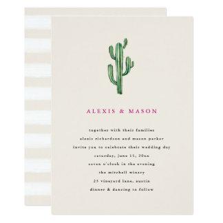 Neutrale Kaktus-Hochzeits-Einladung der Wüsten-  Karte