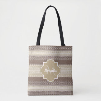 Neutrales Brown- und TAN-Strick-Muster mit Namen Tasche