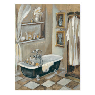 Neutrales französisches Badezimmer Postkarte