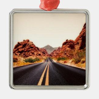 Nevada-Gebirgsstraßen-Landstraßen-Reise-Landschaft Silbernes Ornament