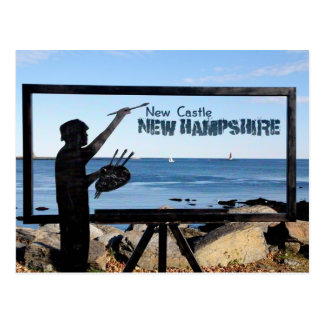 New Hampshire, neues Schloss-große Insel-Skulptur Postkarte