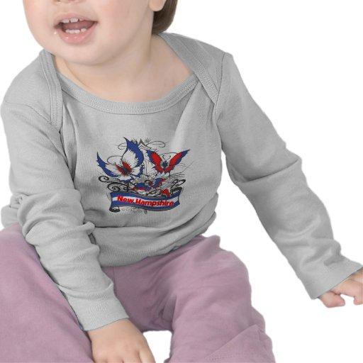 New Hampshire-Patriotismus-Schmetterling T Shirts