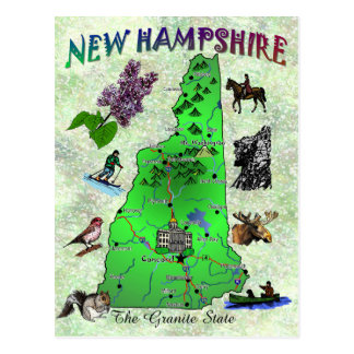 New Hampshire Staats-Kartenkarte Postkarte