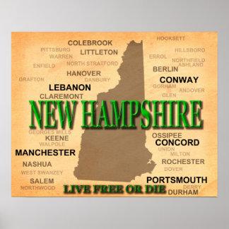 New Hampshire Vintage Karte Poster