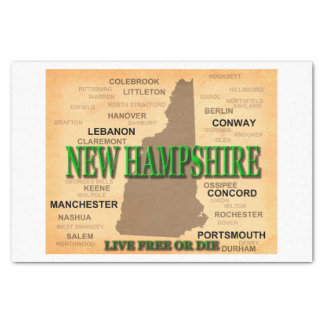 New Hampshire Vintage Karte Seidenpapier