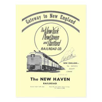 New-Haven Eisenbahn-Zugang nach Neu-England 1950 Postkarte