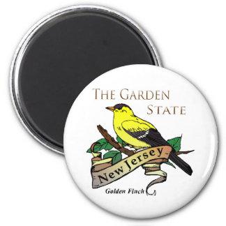 New-Jersey Garten-Staats-goldener Fink Runder Magnet 5,7 Cm