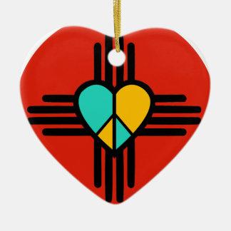 New-Mexiko, Liebe, Frieden Keramik Herz-Ornament