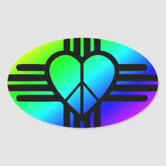 New-Mexiko Regenbogen-Liebe Ovaler Aufkleber