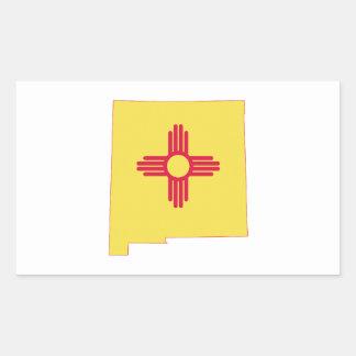 New-Mexiko Staats-Flagge und Karte Rechteckiger Aufkleber