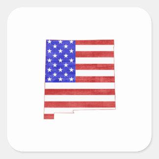 New-Mexiko USA Flaggen-Silhouette-Staatskarte Quadratischer Aufkleber