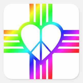 New-Mexiko Zia Liebe Quadratischer Aufkleber