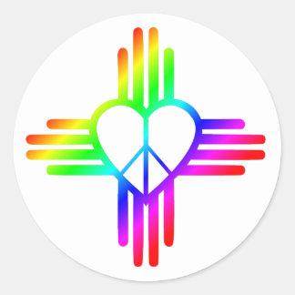 New-Mexiko Zia Liebe Runder Aufkleber
