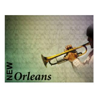 New- Orleanskarneval und Jazz Photomanipulation Postkarte