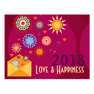 New Year Happiness greeting postcards Postkarte