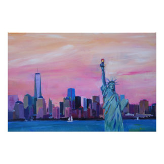 New- York City - Manhattan-Skyline mit Statue Poster