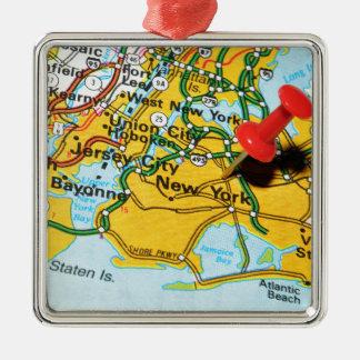 New York City Silbernes Ornament