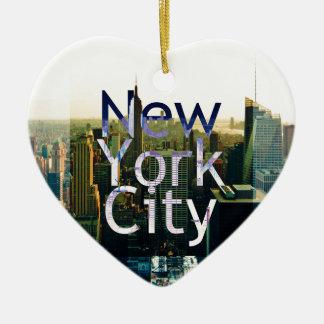 New- York Cityandenken Keramik Herz-Ornament