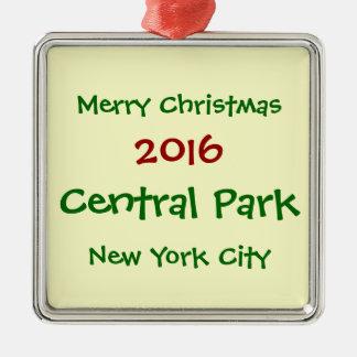 NEW- YORK CITYCentral Park-WEIHNACHTSverzierung Quadratisches Silberfarbenes Ornament