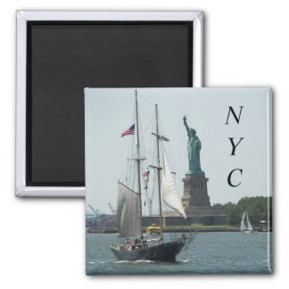 New- York Cityhafen-Reise-Foto Quadratischer Magnet