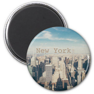 New- York Cityhimmel-Luftaufnahme Runder Magnet 5,1 Cm